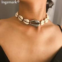 Ingemark Bohemian Big Shell Pendant Choker Necklace Statement Alloy Natural Seashell Pendant Tassel Rope Chain Necklace Women lace alloy pendant statement choker necklace