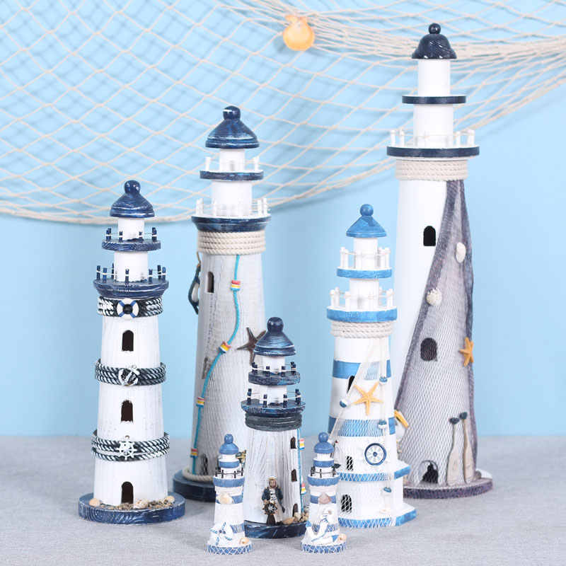 Mediterranean Wooden Lighthouse Old Decorations Home Decorations Creative Marine Style Decoration Gift For Kids
