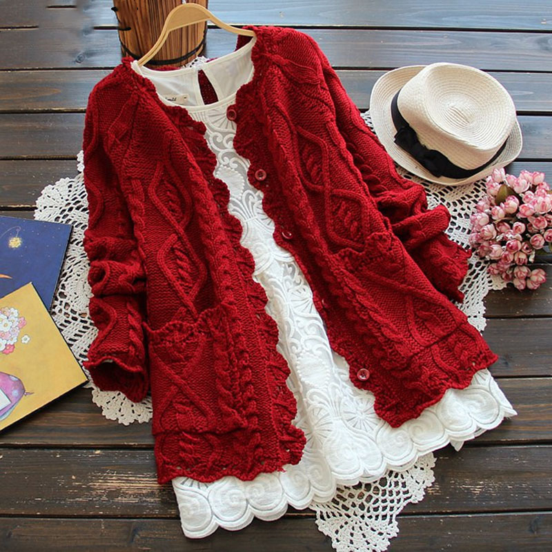 OHRYIYIE 2018 Spring Autumn Mori Girl Style Women Cardigan Solid Color Sweater Knitted Cotton Short Jacket Fashion Girl's Coat 1