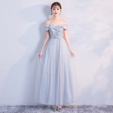 Bridesmaid Dress  Long Grey Dress  Wedding Party Dress  Embroidery  Floor Length Dress