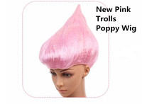 New Pink Trolls Poppy Wig Party Hats for Halloween Cosplay Party for Kids Adults 36cm