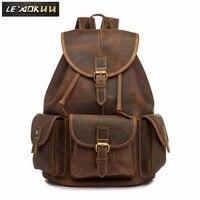 Для мужчин Оригинальные кожаные модные путешествия Университет колледж Школа Книга Сумка дизайнер мужской рюкзак студенческий ноутбук ...
