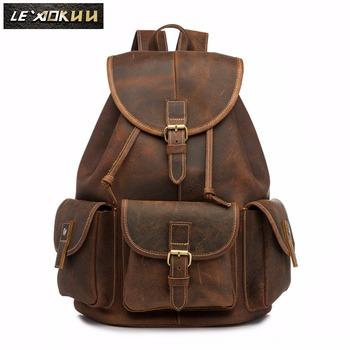 Men Original Leather Fashion Travel University College School Book Bag Designer Male Backpack Daypack Student Laptop Bag 9950-db new design male real cowhide leather casual travel bag school backpack daypack for men 2107