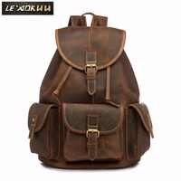 Men Original Leather Fashion Travel University College School Book Bag Designer Male Backpack Daypack Student Laptop Bag 9950-db