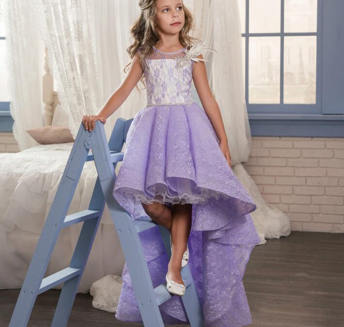 Sweet Purple Lace High Low Flower Girls Dress for Wedding Beautiful Girls Pageant Dress Christmas Gown Any Size Custom Made vintage lace panel high low dress