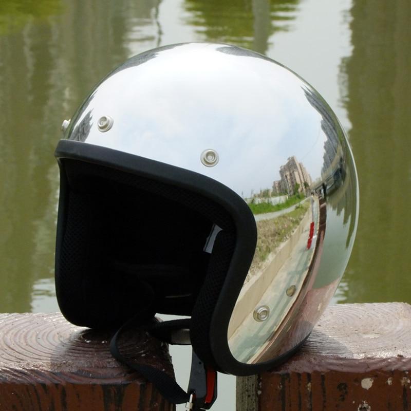ФОТО Hot sale 2016 new brand Silver Chrome Mirror cascos capacete vintage motorcycle helmet jet scooter open face retro helmets DOT