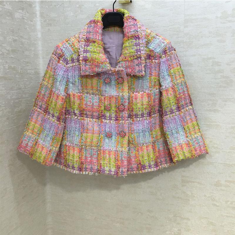 Runway temperament color plaid fabric jacket jacket women jacket lining 100 silk