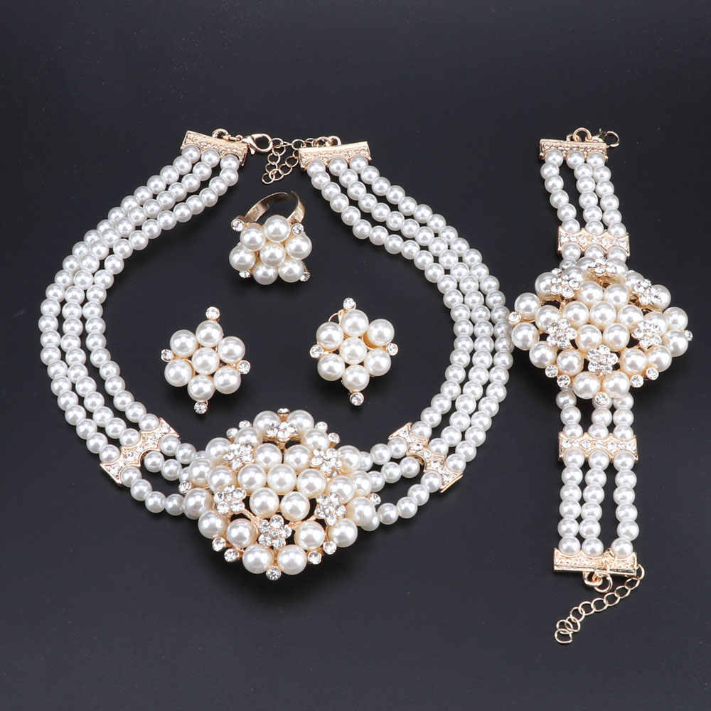 OEOEOS Nigerian Wedding African Jewelry Set Indian Bridal Jewelry Sets For Women White Simulated Pearl Necklace and Earring Set