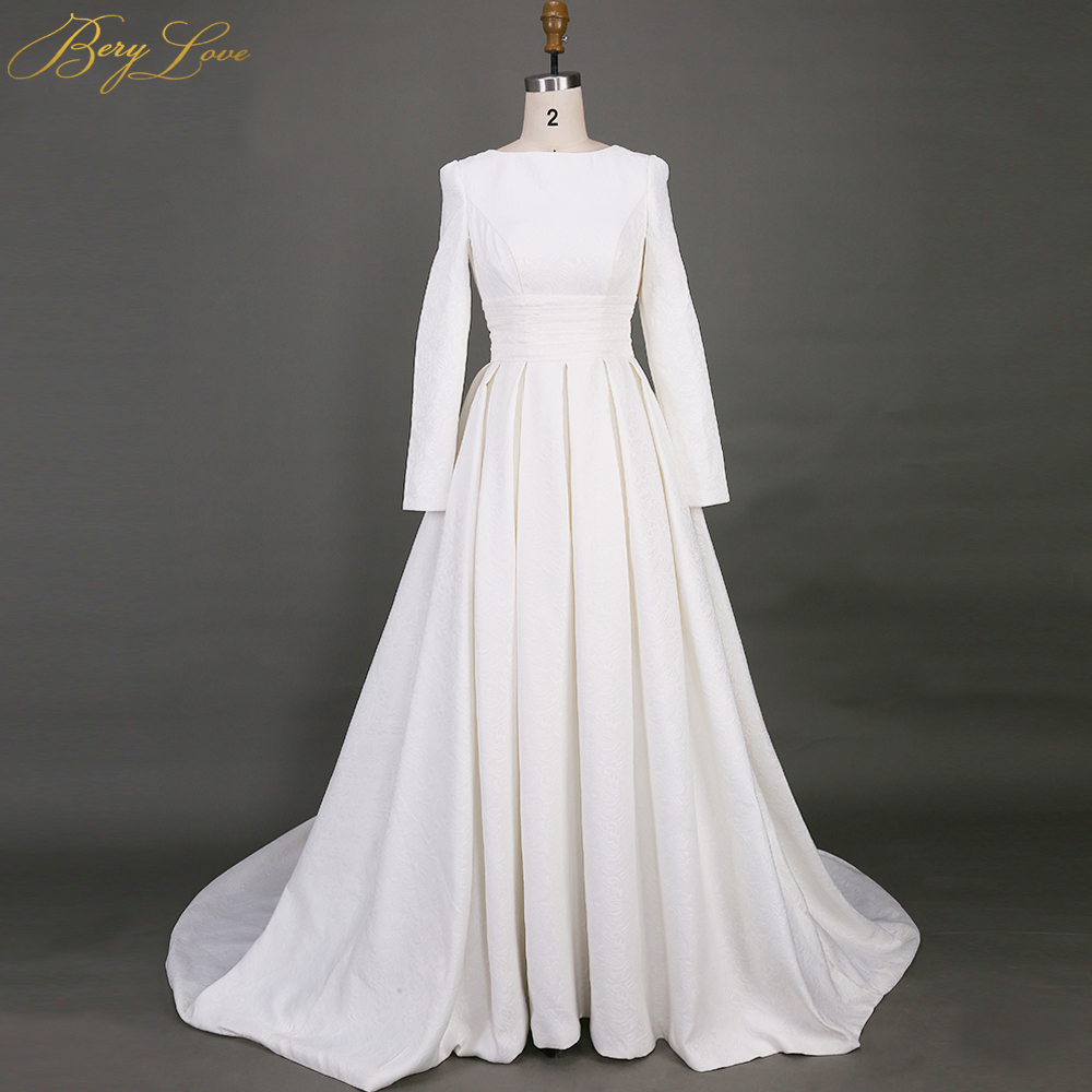 A Line Wedding Gown: BeryLove Simple Long Sleeves Wedding Dresses 2019 Pattern