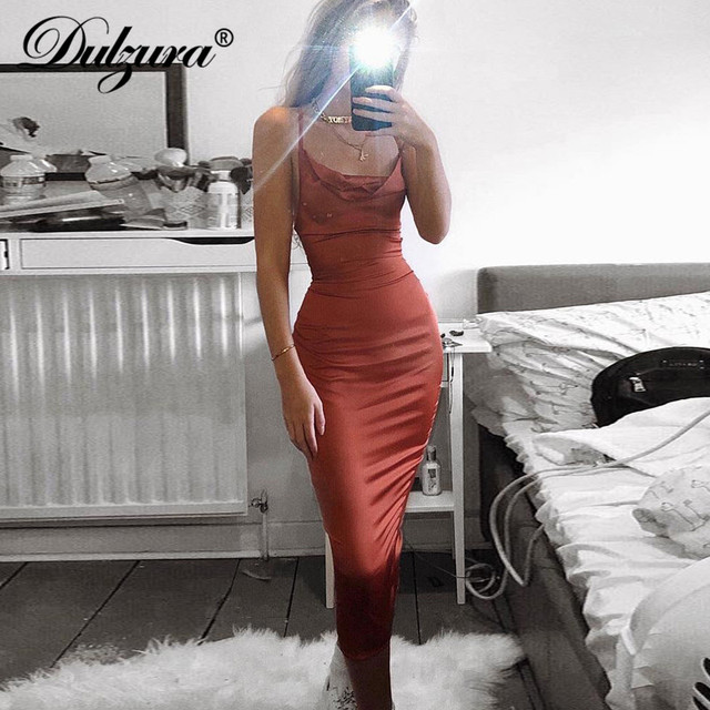 Dulzura neon satin lace up 2019 summer women bodycon long midi dress sleeveless backless elegant party outfits sexy club clothes 1