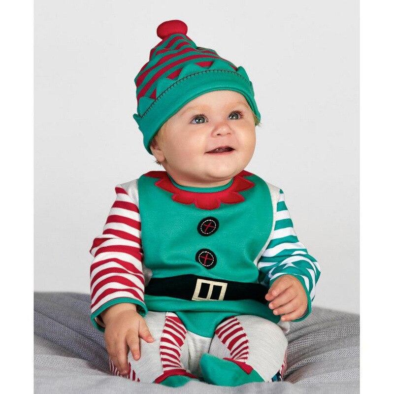 tienda online lo nuevo de navidad ropa de beb del mameluco del sombrero establece verde pequeo ayudante bebe traje cubre piernas cap nios trajes