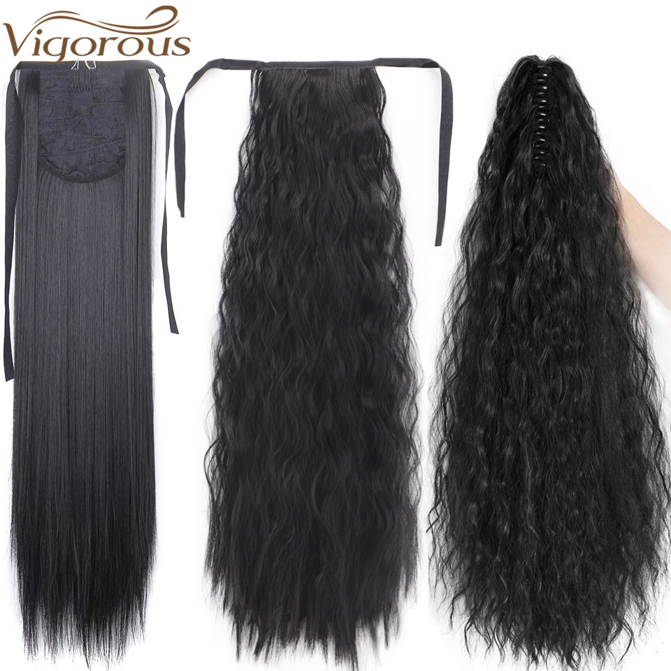 Vigorous Long Afro Ponytail Synthetic Hairpiece Wrap On Clip Hair Extensions Corn Wavy Pony Tail Blonde Black Fack Hair