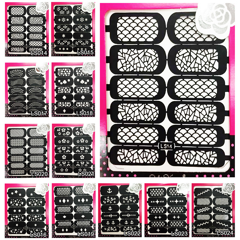Reusable Stamping Tool Nail Art Template Stencil Stickers Vinyls Image Guide Polish Manicure Nail Hollow Stickers 24 Styles 06 39 mixed styles nails tips polish printing beauty decals multipurpose nail art hollow template stickers makeup stencil tool