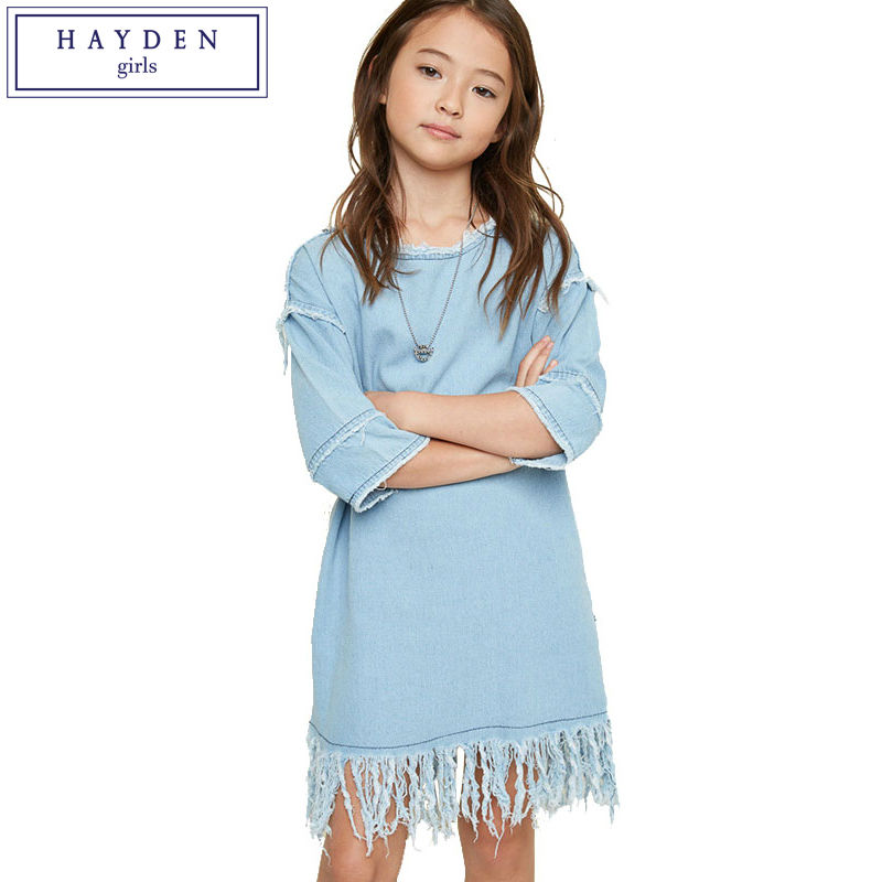 HAYDEN Denim Dress Girl Kids O Neck Knee Length Loose Fit Tassel Dresses 100% Cotton Teenage Girls Blue Jean Dress Size 7-14Y baby girls knee length dress o neck full sleeve black&white striped child dresses new cotton kids clothes