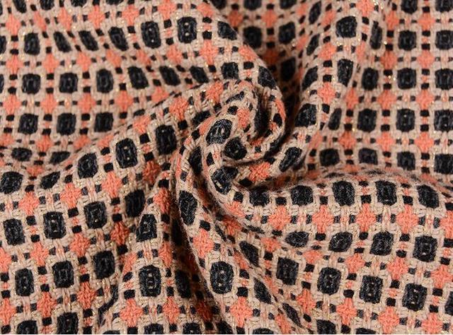 Wholesal Mixed Color Geometric Fragrance Woven Wool Fabric Dresses Print Satin Fabrictextiles