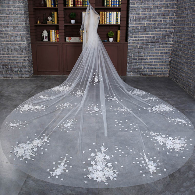 Stereoscopic Lace Flower Bling Sparkling Long Cathedral Wedding Veils Velos De Novia 3 Meters Bridal Gowns