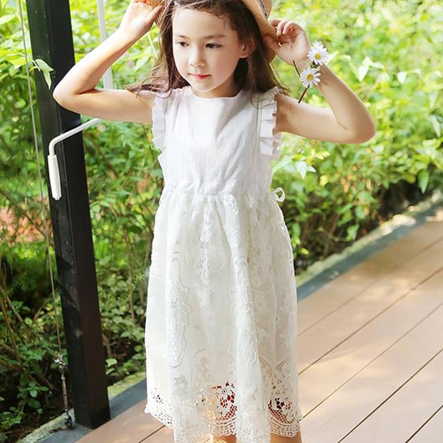 da52f42be Lace Dresses for Girls Summer Princess Wedding Party Little Girls ...