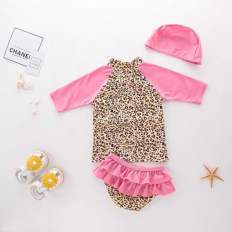 Nyan Cat Drop ship NEW Kids Stylish Baby Girls 3pc Separated beachwear bath  suit Swim hat Leopard Tankini Baby Swimming suit