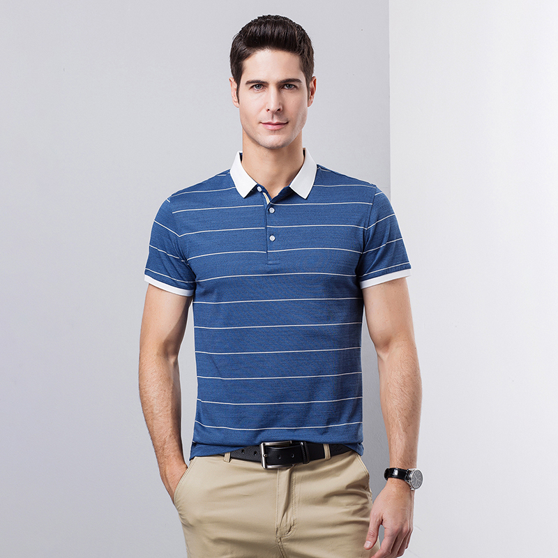 2019 summer causal male cotton stripes   polos   mens tops tee short sleeve free shipping
