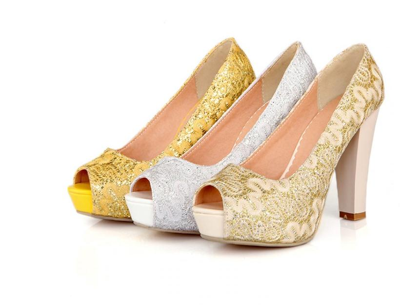 sequined material vamp women pumps 10cm thick high heels platform shining woman shoes gold yellow white pumps size 33--43
