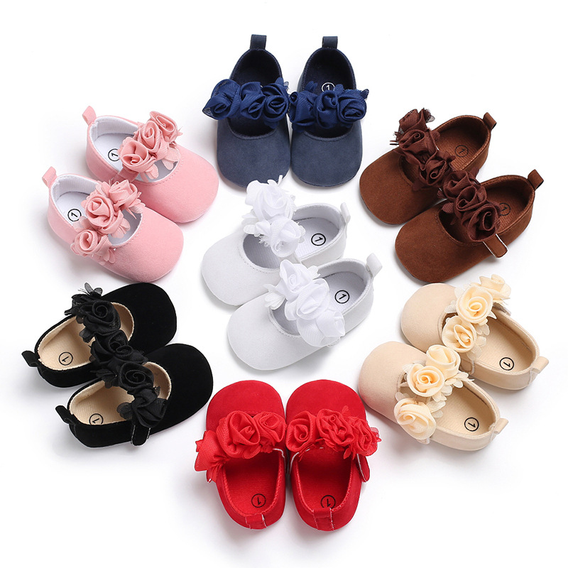 LANSHITINA Infant Girls Shoes First Walkers Soft Newborn 0-18Months Flower Flock Babies Shoes For Baby Girl Skid-Proof C-373