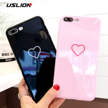 USLION Glossy Love Heart Case For iPhone 7 Plus Couple Letter Phone Cases For iPhone X 8 7 6 6S Plus Soft TPU Back Cover Coque
