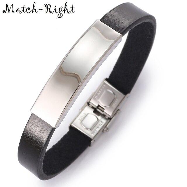 Match-Right Men's Leather Bracelets Metal Bracelet Cuff for Men Stainless Steel Bracelets Bangles Smooth Men's Wristband BR001