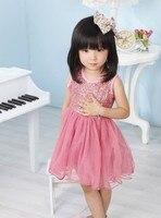 2015 Top Fashion Jersey Rodilla-longitud Nueva Party Girl Dress Princesa Bebé Niños Bling de Chicas Sol Rojo, rosa, rosas fuertes, melocotón, albaricoque