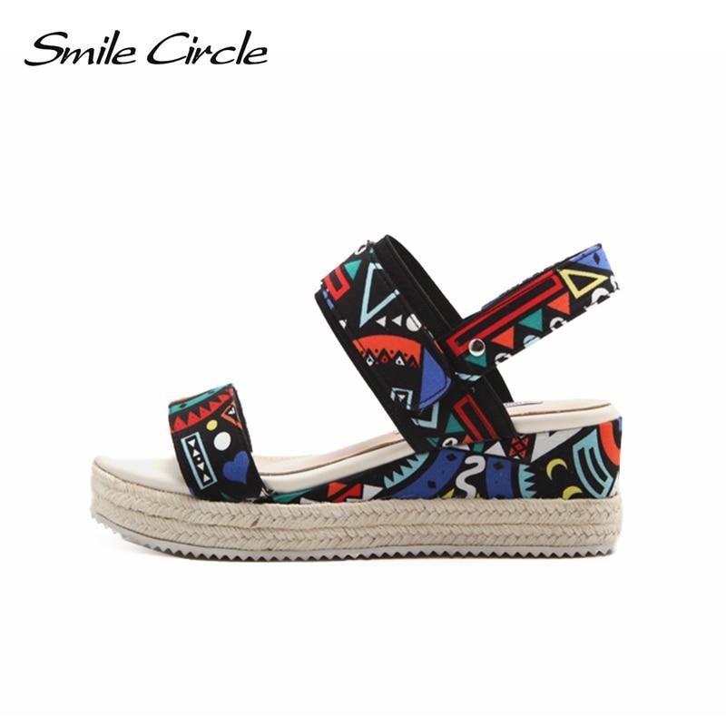 Smile Circle 2018 Summer Wedges sandals women High Heels Platform shoes women Open Toes Sandals slipper Sandalias Zapatos Mujer цена