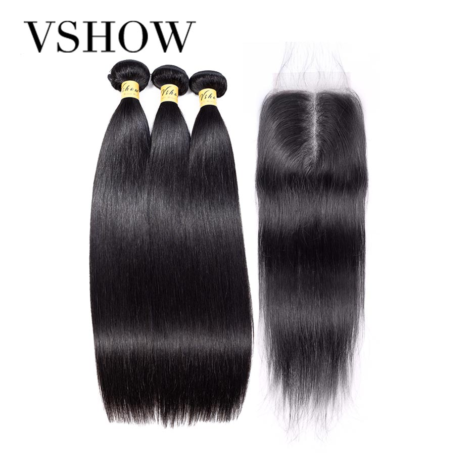 Brazilian Straight Hair 3 Bundles With Closure 100 Human Hair Bundles With Closure VSHOW Remy Hair