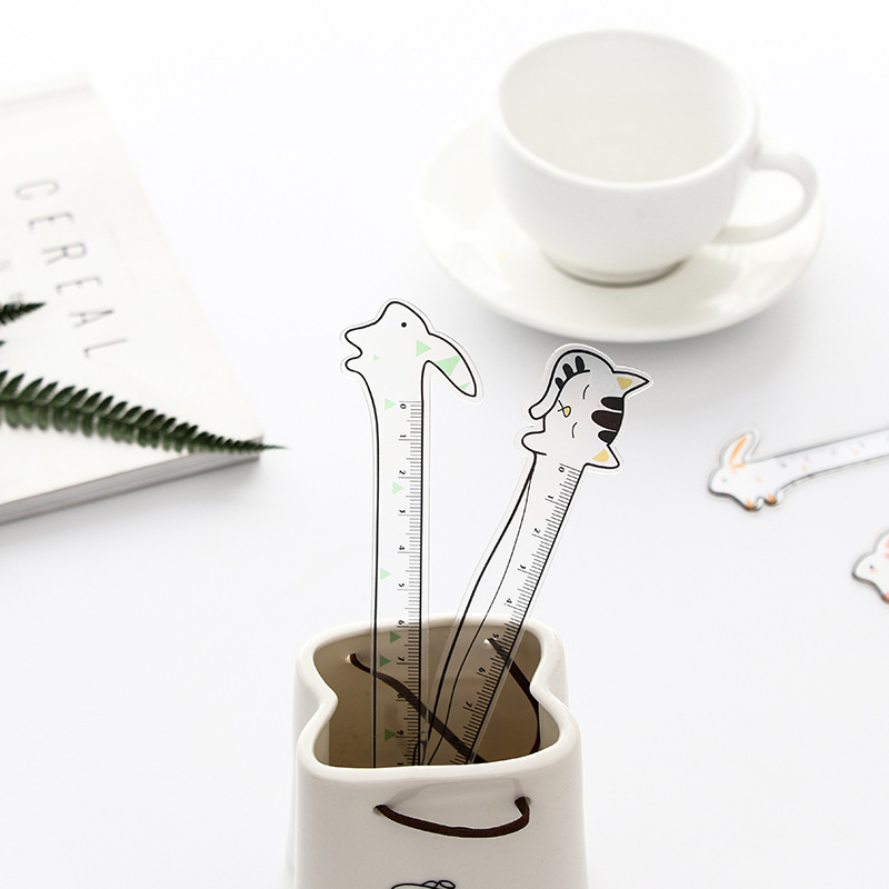 1PC Kawaii Cat Straight Ruler Measure Study Drawing Student Stationery School Office Supply Gift