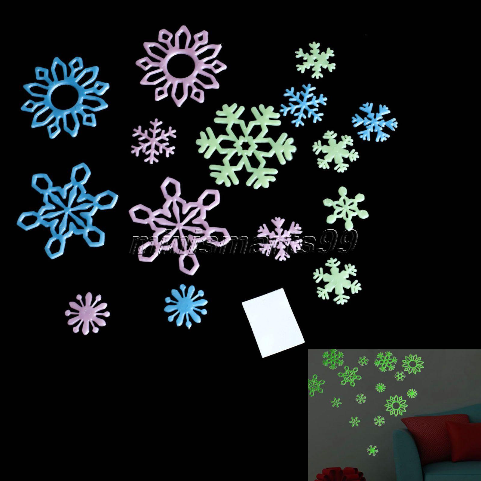 15pcs Wall Stickers Kids Bedroom Home House Decoration Glow In The Dark Luminous Fluorescent Window Snowflakes Wall Decal New