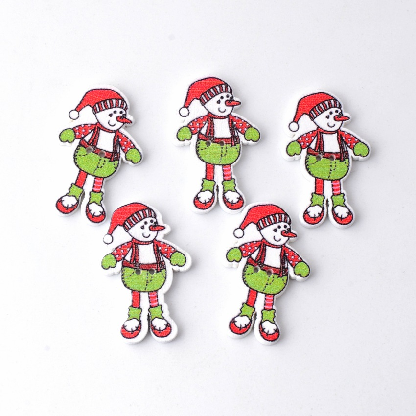 10Pcs Mixed 2 Holes Snowman With Christmas Wood Buttons Sewing Scrapbooking 19x35mm For DIY Decorative Crafts Accessories(China (Mainland))