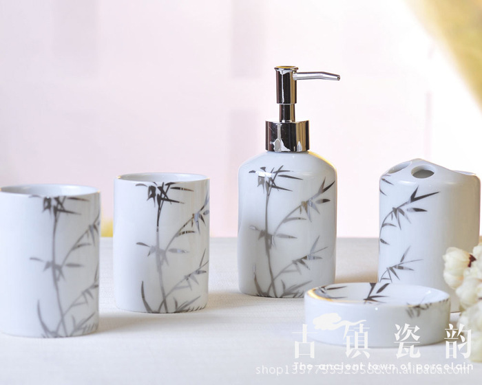 Five piece silver bamboo ceramic bathroom set toiletries for Ceramic bathroom accessories sets