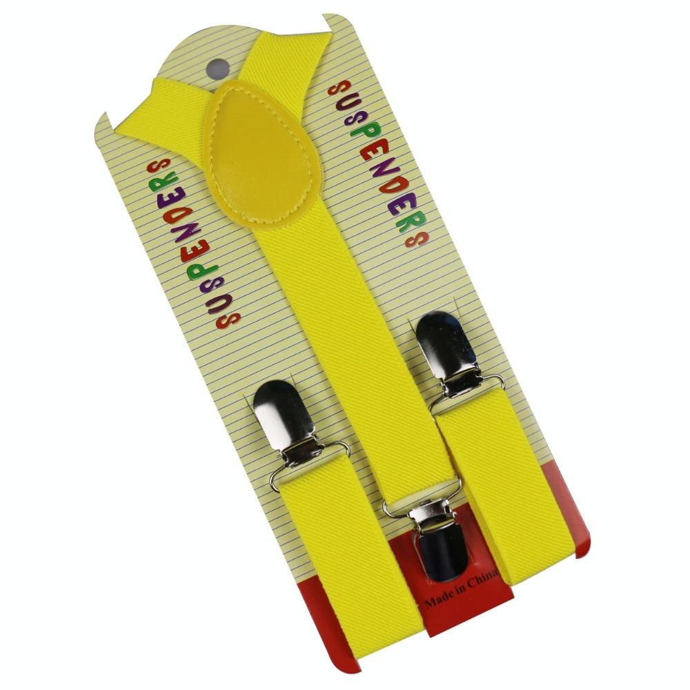 Winfox Fashion Red Yellow Adjustable Girls Clip-on Y-Back Braces Baby Kids Boys Children Suspenders Braces