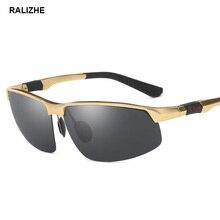 RALIZHE Fashion Polarized Sunglasses Men Aluminum Magnesium Square Sports Vintage Gold Sun Glasses Car Driver Driving UV400