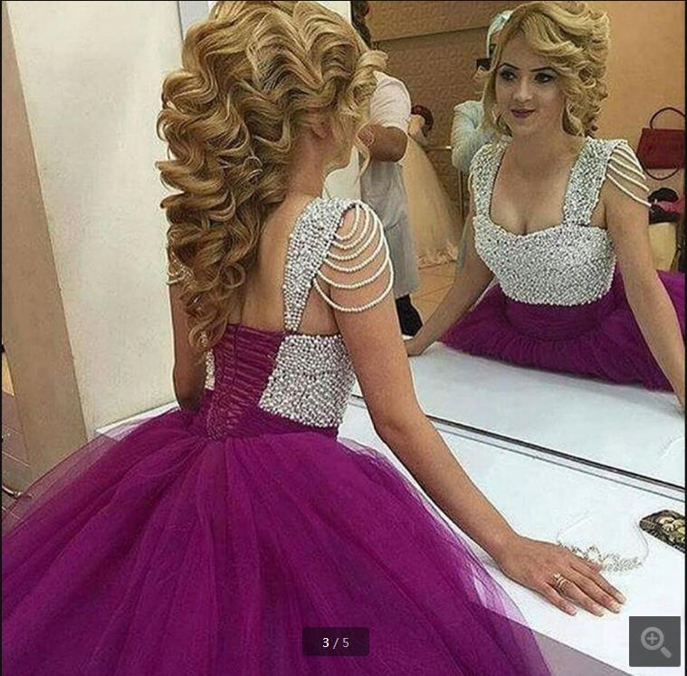 2017 senaste stil boll klänning prom klänning lila pärlor prinsessa söt 16 prom klänningar pläterad puffy prom klänningar heta försäljning