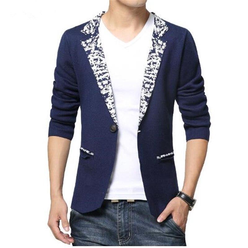 2018 Spring Autumn Fashion Knitted Fabrics Suit Jackets Men Blazer Slim Fit Business Gentleman Style Mens Dress Blazers