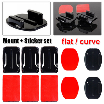 Adhesive Mounts For Go Pro 7 6 5 4 3 Curved Flat Mounts Sticky Pads for Go Pro Xiaomi Yi SJCAM Action Camera Helmet Board Car image