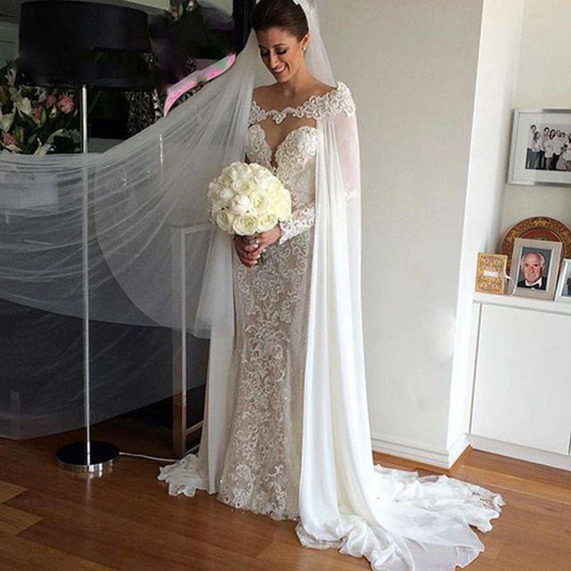 Blanc ivoire mariage enveloppes mousseline de soie mariée veste robe de mariée Cape Appliques offre spéciale manto femmes mariage accessoire 2019
