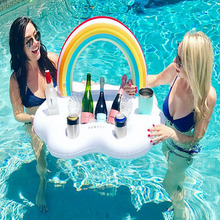 Summer Party 92cm Giant Inflatable Rainbow Cloud Cup Holder Bucket Pool Float Beer Drink Bar Tray Beach Swimming Ring Toys