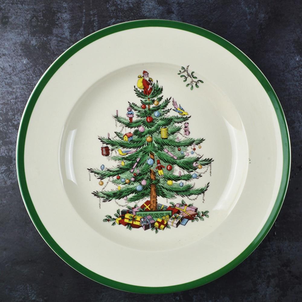 Assiette pour arbre de noël en céramique | 4 pièces de 6.5 pouces, plats à boeuf pour le petit déjeuner assiette à Dessert, assiette à fruits, plat Animal Simple créatif