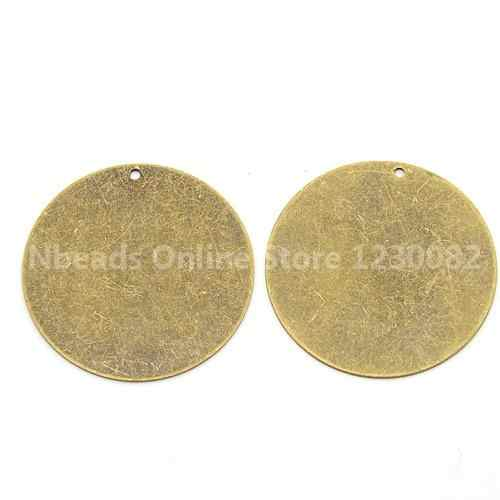 แท็กโลหะทองเหลืองปั๊มเปล่าแท็กจี้สำหรับสร้อยคอเครื่องประดับทำเอง, แบน, antique บรอนซ์, 34x0.3 มิลลิเมตร, หลุม: 1 มิลลิเมตร
