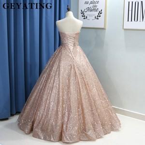 Image 5 - Champagne Glitter Ballkleid Prom Kleider Luxus 2020 Schatz Korsett Bodenlangen Kleider Lange Party Kleid Vestideos de festa