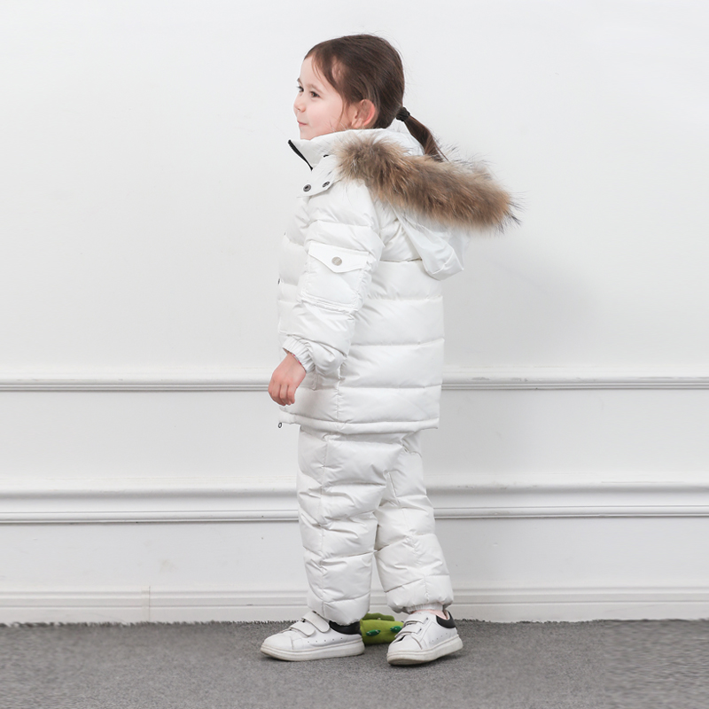 Image 2 - Winter Children Down Suit Long  Zipper Solid White Duck Down Boys Girls Down Jackets Thickening Jacket + Pants Two piece Clothes-in Clothing Sets from Mother & Kids