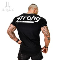 2017 Summer New Mens Gyms T Shirt Crossfit Fitness Bodybuilding Shirts Printed Fashion Male Short Cotton