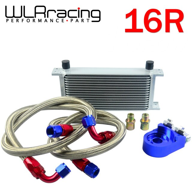 WLR STORE- AN10 OIL COOLER KIT 16 ROWS TRANSMISSION OIL COOLER SILVER+OIL FILTER  ADAPTER BLUE PQY3816B pqy store an10 oil cooler kit 25rwos transmission oil cooler silver oil filter adapter blue pqy3825b