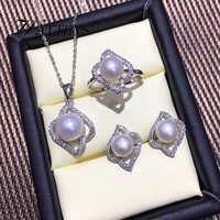Natürliche Perle set, schmuck sets Süßwasser perle halskette ring ohrringe für frauen 925 sterling silber hochzeit party Täglichen Geschenk