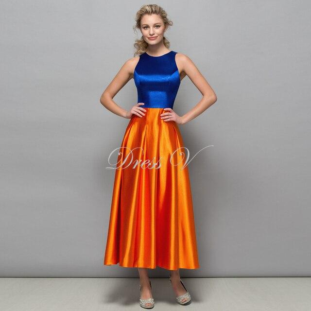 purchase cheap 001ba 98ff8 US $132.0 |Königsblau und orange designer abendkleider 2017 neue tee länge  formales Abschlussball kleid Gekreuzter Rücken Frauen Kleid Robe De Soiree  ...