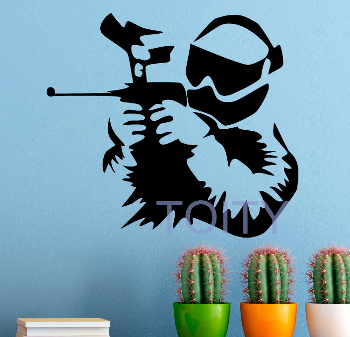 Paintball Vinyl Decal Extreme Sport Wall Sticker Home Bedroom Kids Room Wall Art Mural H57cm x W63cm